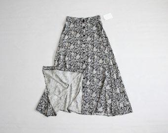 long floral skirt   ankle length skirt   vintage 90s floral maxi skirt
