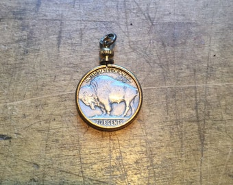 Vintage Buffalo Nickel undated coin Pendant in gold tone Charm setting ~ OLD~antique ~ festival ~ Native American Jewelry ~ outlaw M163