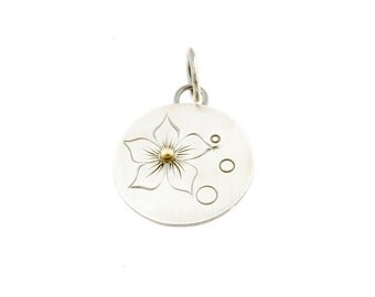 CS16 - Bubble Bloom Charm by RFordMetals -  Engraved Sterling Silver and Gold Flower Charm Pendant