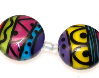 Multi colore 21mm button Lampwork Beads,Lampwork glass Beads,Handmade lampwork glass beads SRA set of 6,jewelry supplies, artisan glass bead