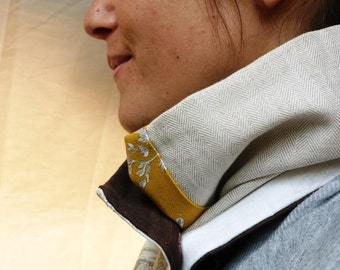 """Cowl neck scarf  """"Whites creams and a touch of yellow"""""""