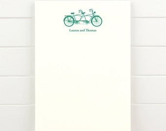 TANDEM Personalized Notepad - Couples Engagement Wedding Valentine Bicycle