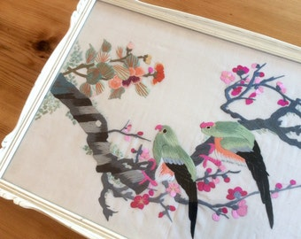 Chinoiserie Decor. Vintage Embroidery, Large Textile Art. Asian Parakeet Birds in Cherry Blossom Tree. Chinese Silk Embroidery, Wall Art.