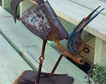 Bird Sculpture Folk Art Metal Garden Art Primitive Steel Found Object Art