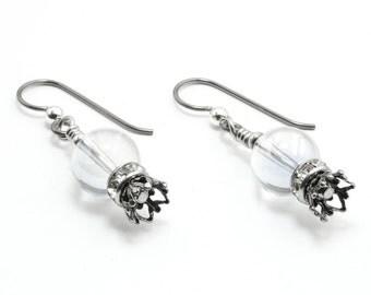 Gypsy Earrings, Fortune Teller Earrings, Drop Earrings, Silver Dangle Earrings, Crystal Ball Charm, Drop Earrings