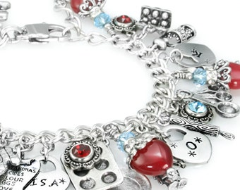 Personalized Jewelry - Custom Jewelry - Charm Bracelet - Choose your own charms - Crystals - Engraved Charms