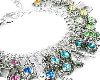 Rainbow Jewelry, Crystal Rainbow, Rainbow Bracelet, Personalized Crystal Bracelet, Rainbow Charms