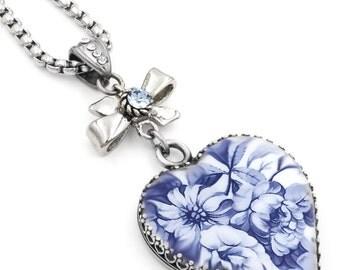 Blue Willow Heart Pendant - Silver Heart Necklace - Heart Pendant - Blue Rose Necklace - Sapphire Heart Pendant - Flower Heart Necklace