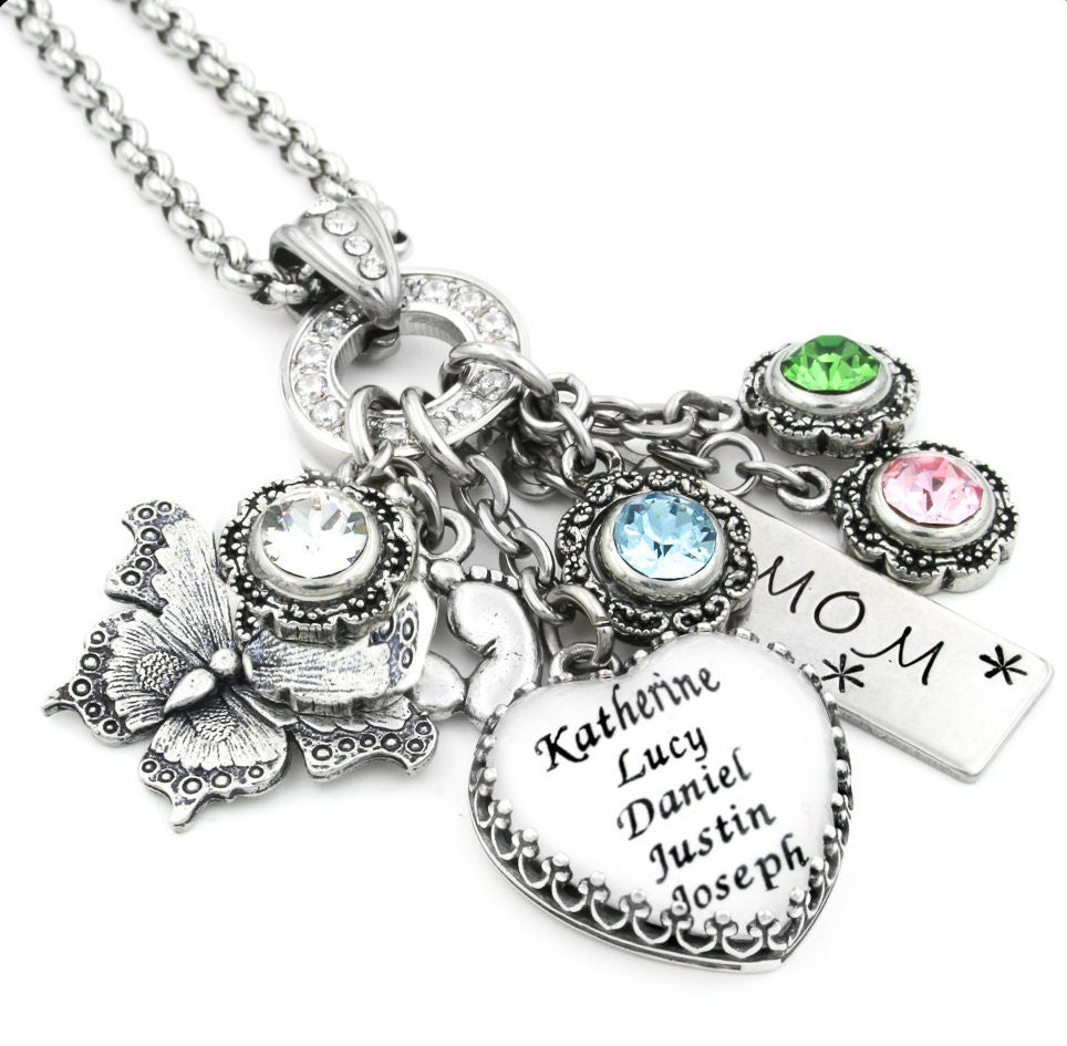 Mothers Charm Bracelet: Heart Mom Jewelry Personalized Mom Necklace By