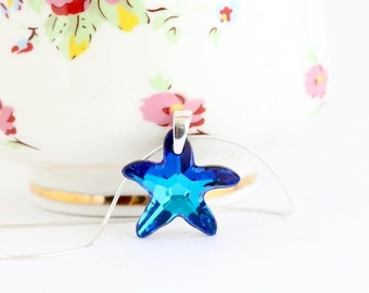 Blue Starfish Necklace, Bermuda Blue Swarovski Crystal Starfish on Sterling Silver Chain, Blue Starfish, Beach Jewelry, Girlfriend Gift