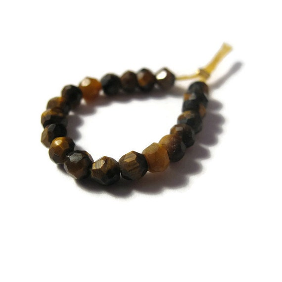 20 Tigers Eye Rondelles, Faceted Natural Gemstone Beads, Twenty Necklace Rondelles, 3.5mm Tiger's Eye Beads, Jewelry Supplies (L-Te1)