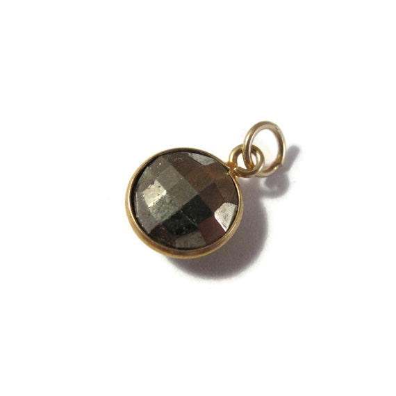 Baby Pyrite Charm, Round Fool's Gold Pendant with Gold Plated Bezel, Faceted Double Sided Gemstone Charm, Jewelry Supplies (C-Py1a)