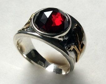 Silver Gold Ring, garnet ring, engagement ring, red gemstone ring, mixed metals ring, cocktail ring, statement ring - Parties Girl R2242