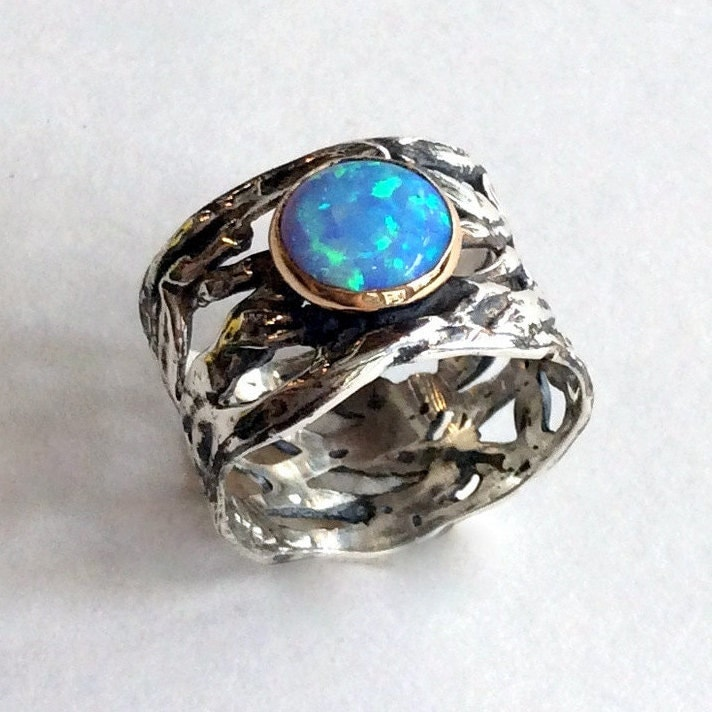 Amazing silver rings with stones - Indian Jewelry Cocktail Ring with Opal and Sterling Silver