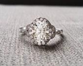 "Estate Halo Moissanite Diamond Antique Engagement Ring Victorian Art Deco Heart Edwardian 14K White Gold ""The Caroline """