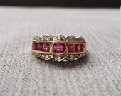 Antique Ruby Diamond Two Toned Ring Gemstone Engagement Ring Art Nouveau Art Deco Bohemian Lace Wedding Band 14K Yellow White Gold size 6.25