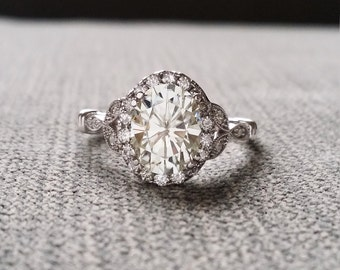 "Estate Halo Moissanite Diamond Antique Engagement Ring Victorian Art Deco Heart Edwardian 14K White Gold ""The Caroline """