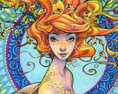 Mermaid Coloring Book - Portrait of the Mermaid by Sara Burrier
