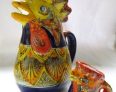 Italian Rooster Pitcher and Creamer - Mid Century Ceramic Pottery - Famulari S. Stefanol of Sicily - Bird Water Jug and Coq Creamer
