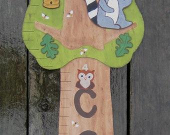 WOODLAND ECHO TREE Wood Growth Chart - Original Hand Painted Keepsake - Twins Option