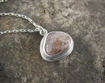 Handmade Sterling Silver Pendant - Pink Galaxy Lake Superior Agate Drop Pendant
