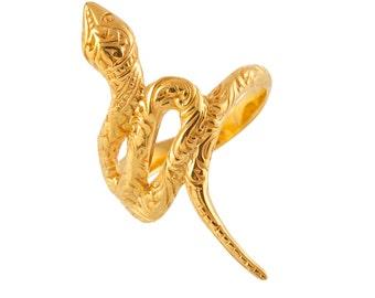 snake ring, gold snake ring, 22k gold vermeil hand made snake ring