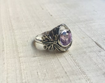 Rose de France Amethyst  in Sterling Silver- The Butterfly Duo Ring