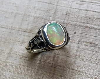 The Ivy Ring in Opal and Sterling Silver