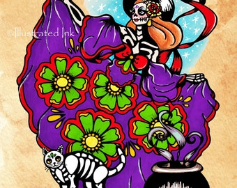 Day of the Dead WITCH with Cat Halloween Dia de los Muertos Art Print 8 x 10 or 11 x 14