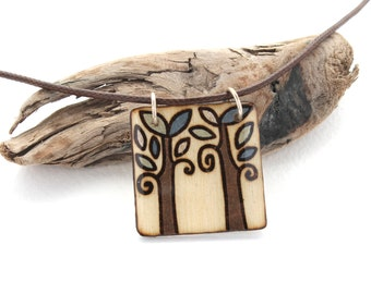 Wood Square Tree Pendant Necklace, Wood Burned Jewelry, Epoxy Resin, Hand Painted, Tree of Life, Everyday Simple Necklace, Natural Jewelry
