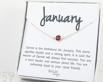 January Birthstone Necklace, January Swarovski Silver Necklace, Garnet Silver Necklace, January Birthstone Jewelry, Gifts Under 20