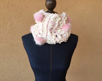 Blush Pink Chunky Knit Scarf Infinity Scarf Gift Under 40 Pink and Cream Scarf Cowl Ivory and Pink Pom Knit Scarf