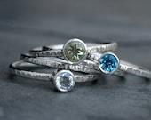 Morning Light Stacking Rings, Oro Verde, Swiss Blue Topaz, Clear White Topaz, Sterling Silver, Faceted Gemstone Gem, Set of Five Stack Rings