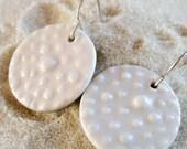 Porcelain Polka Dot Earrings - White on White