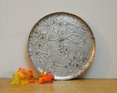 Wendell August Forge aluminum serving platter. Apple or cherry blossom embossed design serving tray