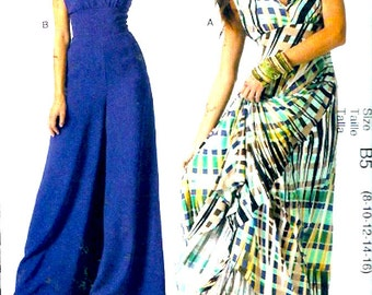 Flowing Goddess gown Palazzo jumpsuit Fashion Star McCalls 6760 evening wear sewing pattern Sz 8 to 16 UNCUT Modern fashion