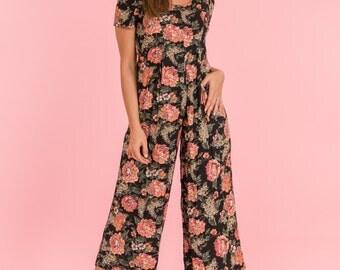 Vintage Black And Pink Floral Gaucho Romper (Size Medium)