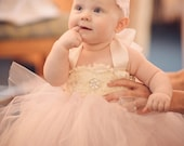 Ivory Blush pink Ivory Flower Girl Dress, Tutu Dress, Toddler Tutu Dress, Baby Tutu Dress