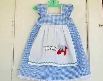 Dorothys Dress Embroidered Apron Wizard of Oz inspired 6-12M OR 12-18M Baby Girls
