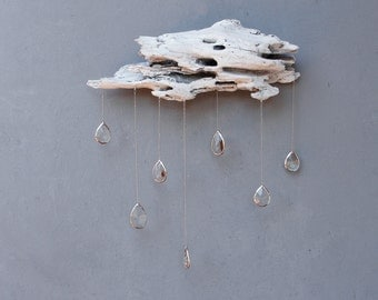 Driftwood Cloud with Vintage Crystal Raindrops - Extra Large Wall Hanging