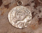 Coin Sterling Silver Old World Charm, Sun Facing Coin, Lion Coin
