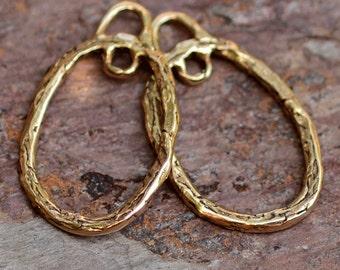 Bronze Oval Earring Drops w Loop, Bohemian Earring Findings,  264d
