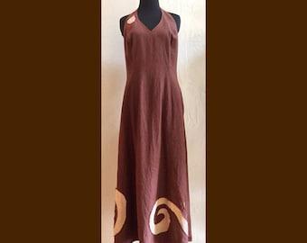 SALE! Curves Halter Dress - Repurposed Linen dress, inlayed cloth, wearable art, art dress, brown linen halter maxi dress, upcycled LIZ