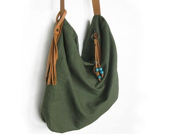 Linen Slouchy Bag Natural Flax Army Green Large Side Bag Natural Leather Strap Zippered Shoulder Bag Cross Body