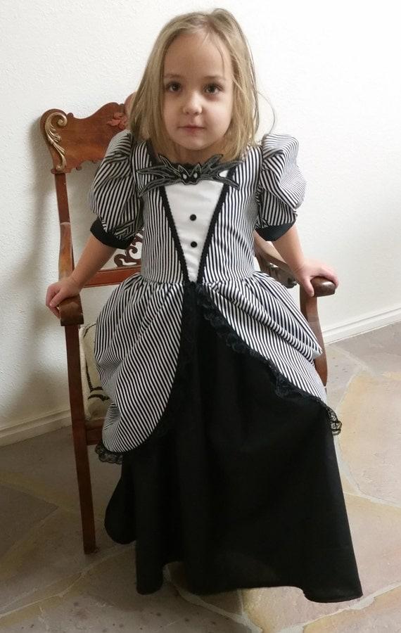Steampunk Kids Costumes | Girl, Boy, Baby, Toddler Jack Skellington Inspired Black Victorian Nightmare Before Christmas Dress Skeleton Costume $70.00 AT vintagedancer.com
