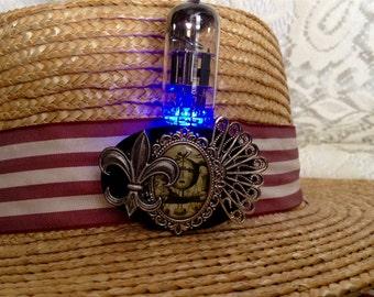 Blue fleur de lis steampunk vacuum tube brooch - LED jewelry brooch - steampunk vacuum tube jewelry - light up jewelry - LED jewelry