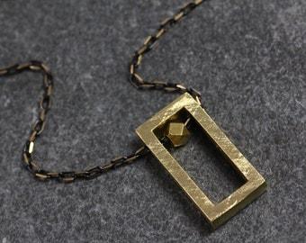 Brass Rectangle Block Necklace