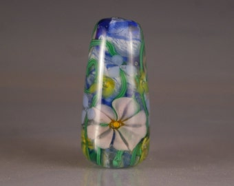 Lampwork Beads, Lampwork Focal Bead, encased floral in blue and pink