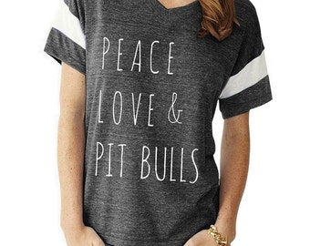 Peace Love & Pit Bulls boho slouchy Powder Puff t shirt tshirt screenprint ladies scoop top