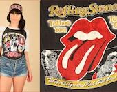 Rolling Stones T-Shirt RARE ViNtAgE 80's 1981 Tattoo You Rock Tee Black White Raglan Sleeve The British Are Coming M Medium